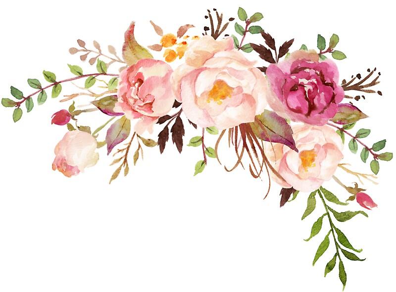 quotromantic watercolor flower bouquetquot stickers by