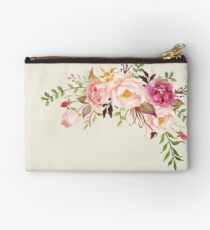 Romantic Watercolor Flower Bouquet Studio Pouch