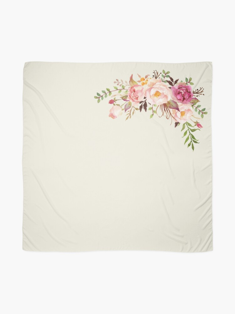 Alternate view of Romantic Watercolor Flower Bouquet Scarf