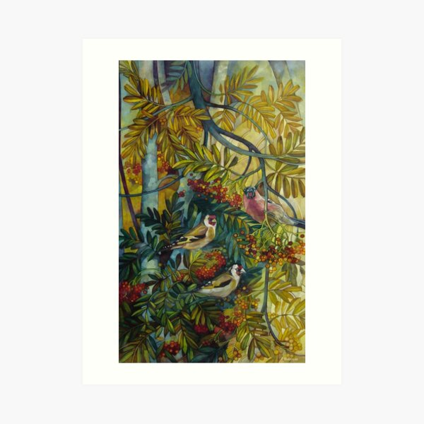 "Goldfinches in the sorb-tree ""sorbus aucuparia "" Art Print"