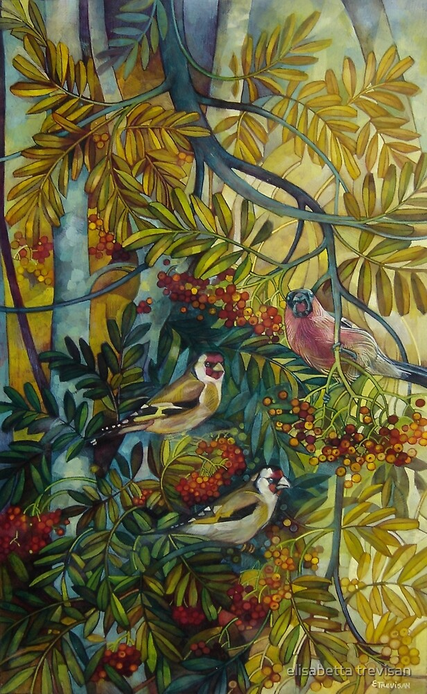 "Goldfinches in the sorb-tree ""sorbus aucuparia "" by elisabetta trevisan"