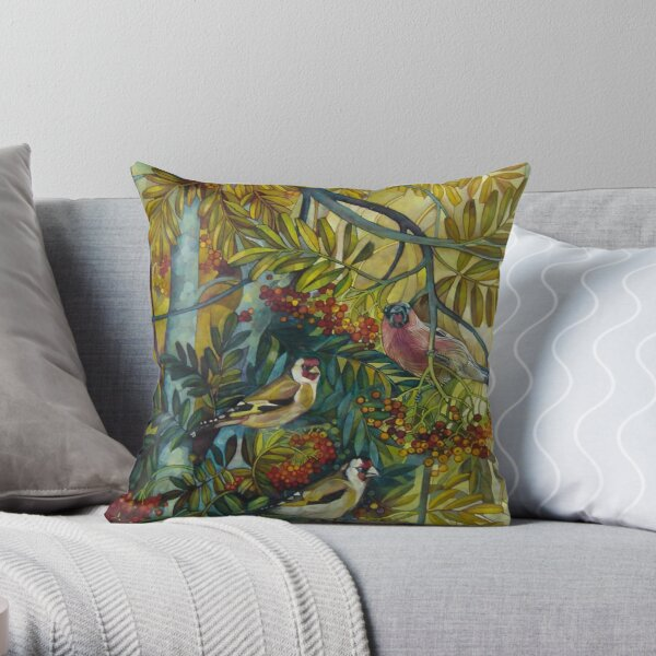 "Goldfinches in the sorb-tree ""sorbus aucuparia "" Throw Pillow"