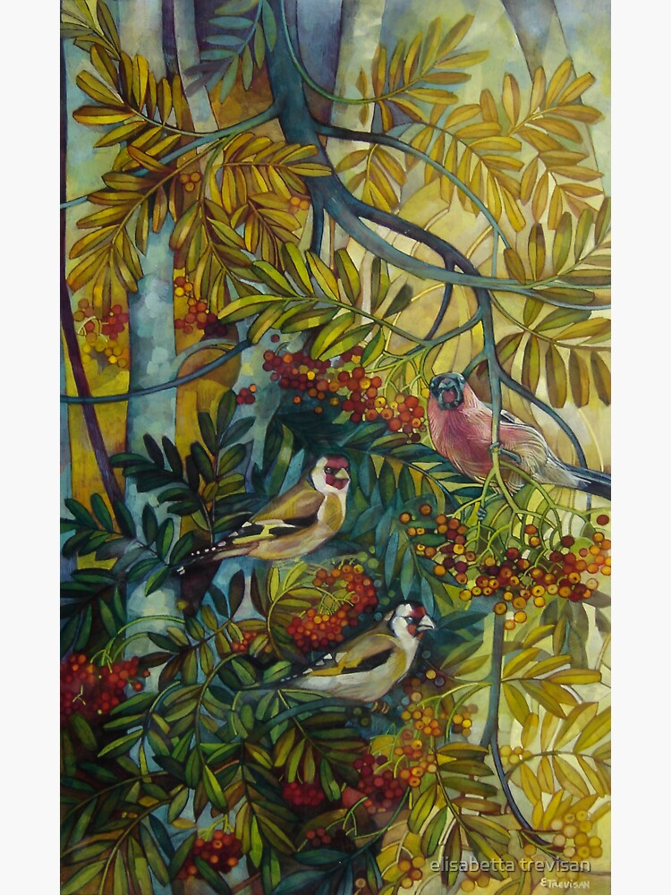 """Goldfinches in the sorb-tree """"sorbus aucuparia """" by betta"""