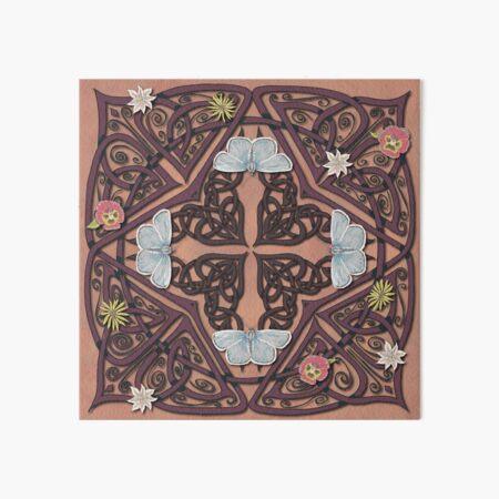 Blue Butterflies Celtic Medieval Knotwork Art Board Print