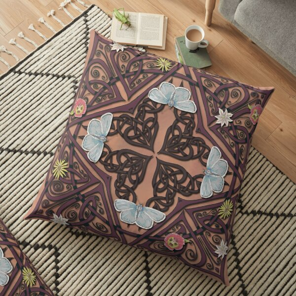 Blue Butterflies Celtic Medieval Knotwork Floor Pillow