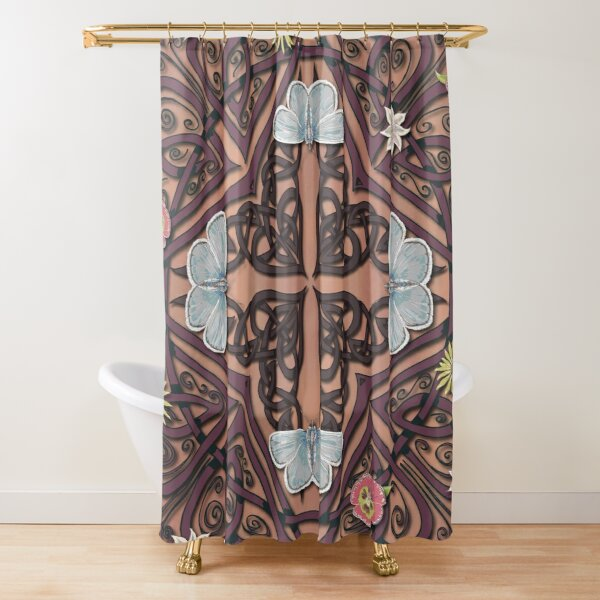 Blue Butterflies Celtic Medieval Knotwork Shower Curtain