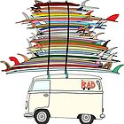 VW Bus and surfboards by stickersgalore