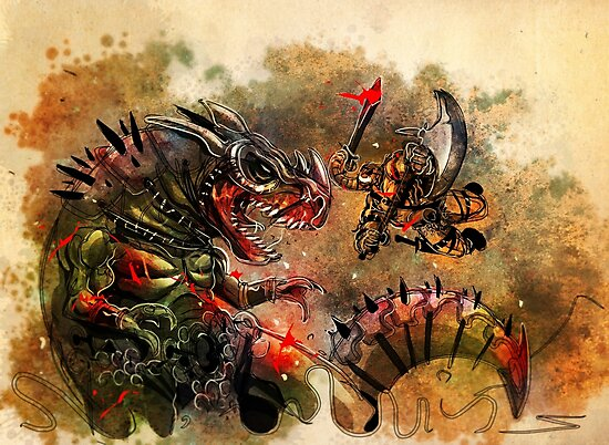 Manstodon versus the Swamp Tyrant by Simon Sherry