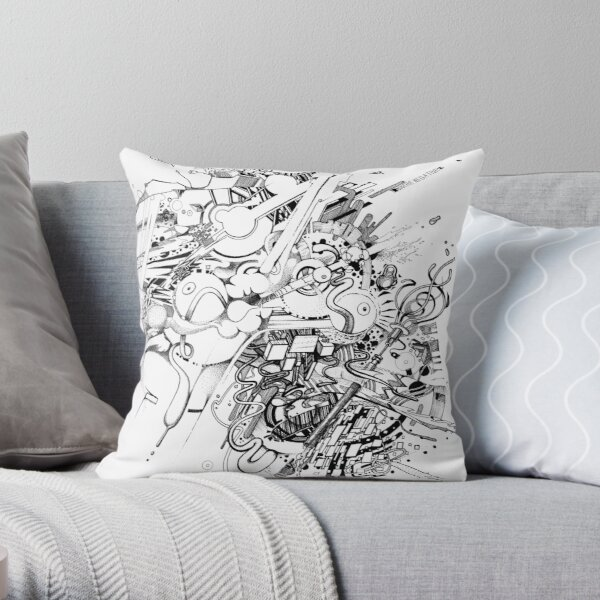 Add the Negative - Illustration - Color it yourself! Throw Pillow