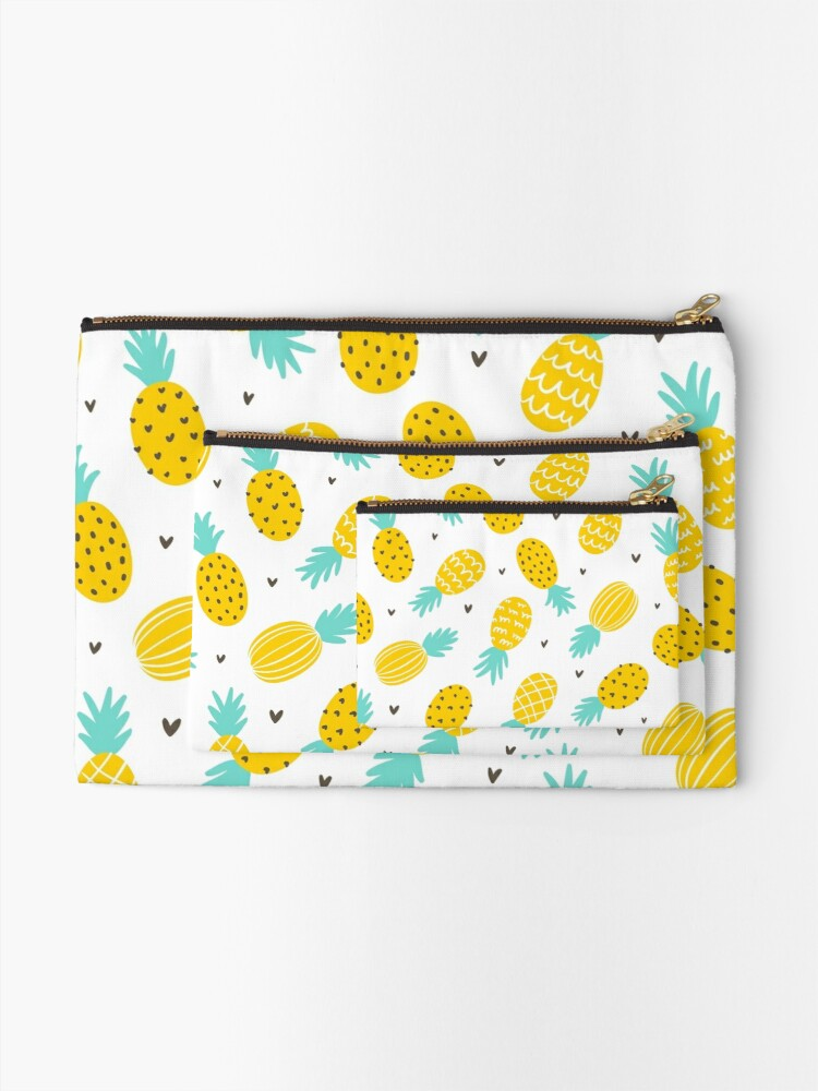 Alternate view of Pineapple and hearts Zipper Pouch