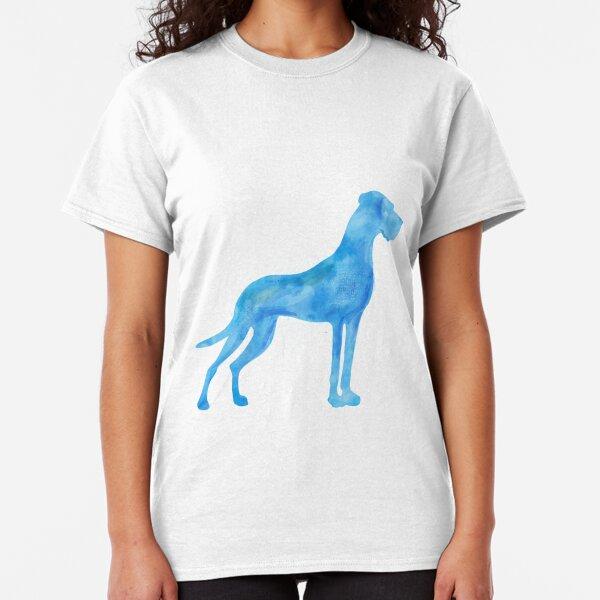 Blaue Dogge Wasserfarben Classic T-Shirt