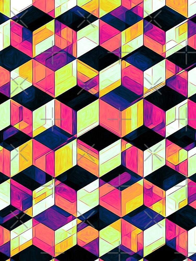 Geometric Cubes Pop Art by perkinsdesigns