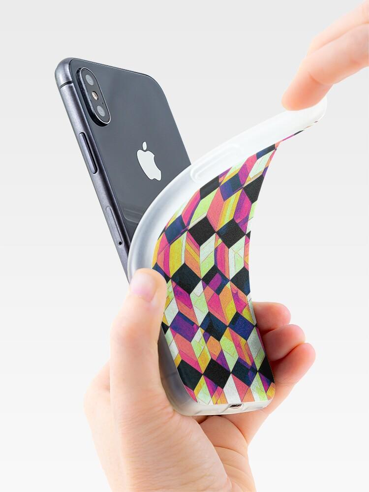 Alternate view of Geometric Cubes Pop Art iPhone Case & Cover