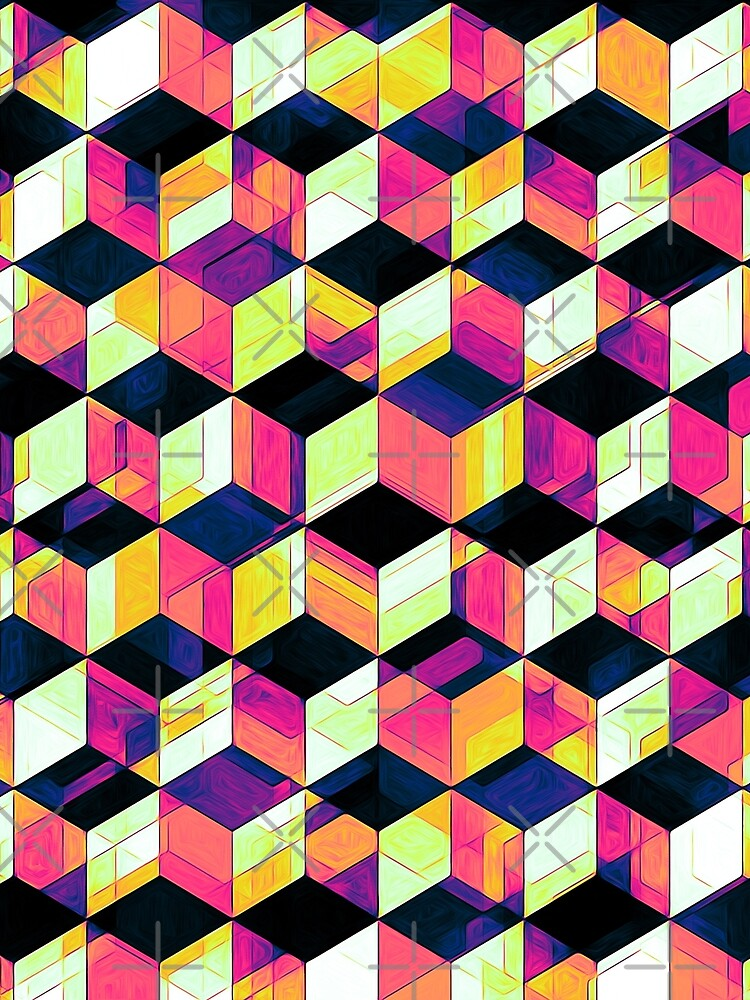 Geometric Cubes Pop Art by perkinsdesigns