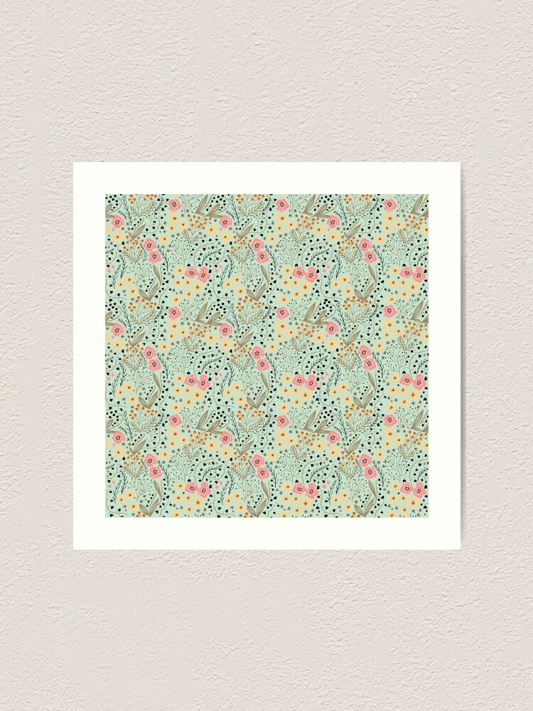 Alternate view of Pink and Yellow Flowers on a Light Green Background Art Print