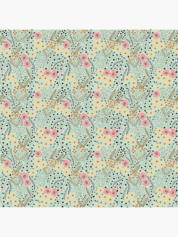 Pink and Yellow Flowers on a Light Green Background by WAHMTeam