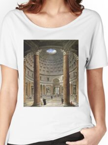 Vintage famous art - Giovanni Paolo Panini - The Interior Of The Pantheon, Rome Women's Relaxed Fit T-Shirt
