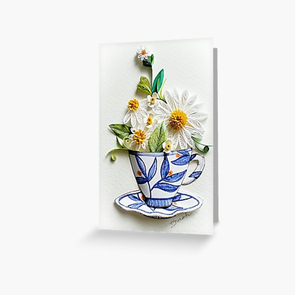Paper quilling Art/Original Art by Hyunah Yi/Tea cup Paper quilling Art/Original Art by Hyunah Yi/Tea cup flower/Kitchen wall art/framed/Mother's day/Anniversary/Birthday gift/card/Botanical Greeting Card