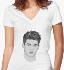 Camiseta entallada de cuello en V Cody Christian - Blanco y Negro