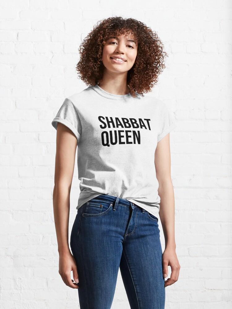 Alternate view of Shabbat Queen [black capitals] Classic T-Shirt