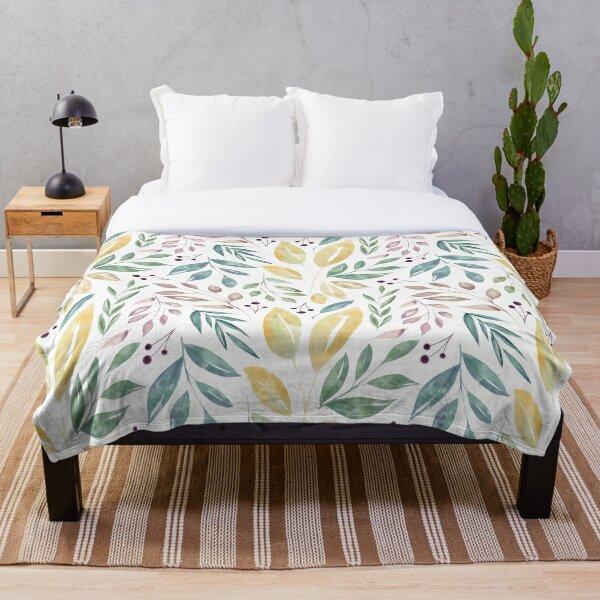 Hojas y Frutos pintados con Acuarela - Diseño delicado y suave Manta