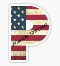 Powerstroke American Flag Sticker