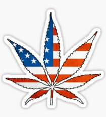 Marijuana Leaf American Flag Sticker