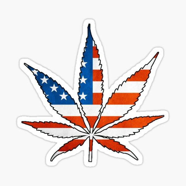 Marijuana Leaf American Flag Sticker