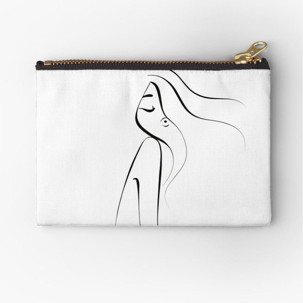 Black and white line artwork. Woman. Monochromatic . Aesthetic Zipper Pouch