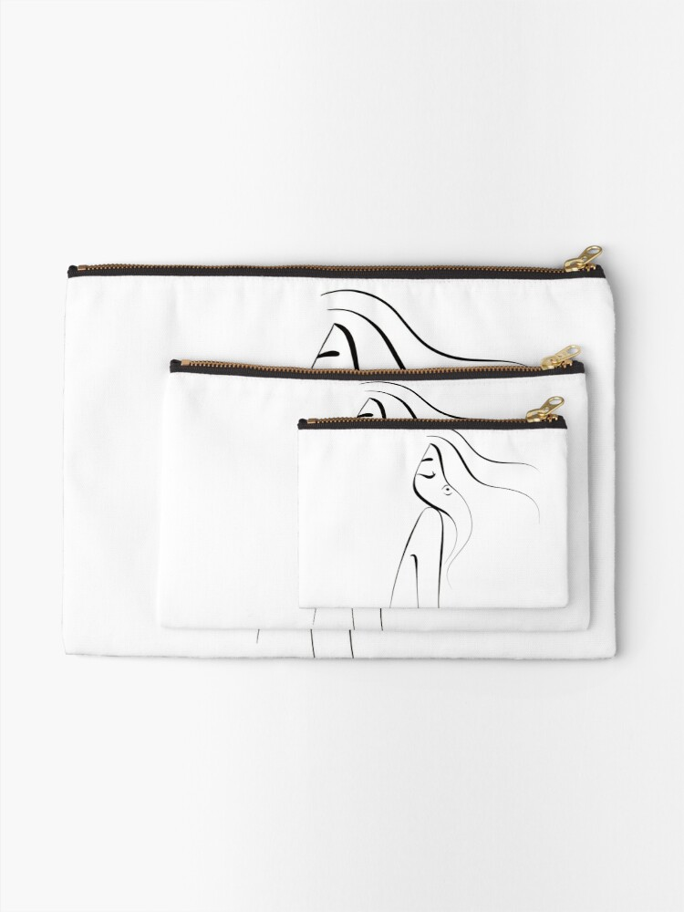 Alternate view of Black and white line artwork. Woman. Monochromatic . Aesthetic Zipper Pouch