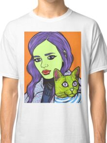 Girl with Cat T-shirt Classique
