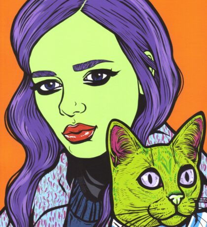 Girl with Cat Sticker