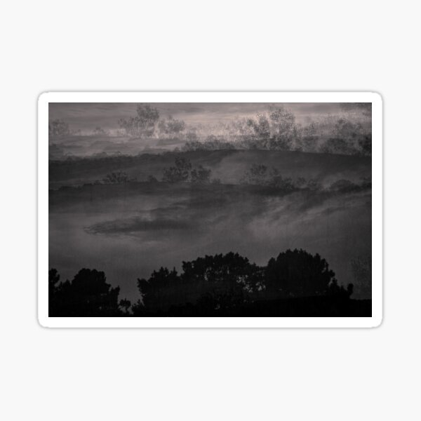 Floating Mountains in Black and White  Sticker