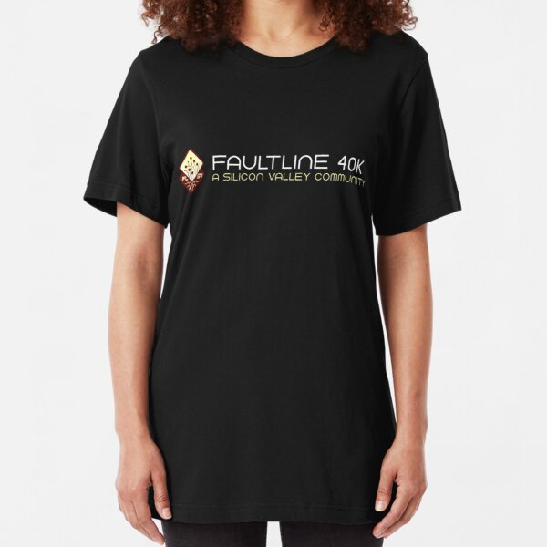 Faultline 40K Red Logo and Name Slim Fit T-Shirt