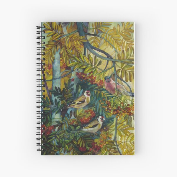 """Goldfinches in the sorb-tree """"sorbus aucuparia """" Spiral Notebook"""