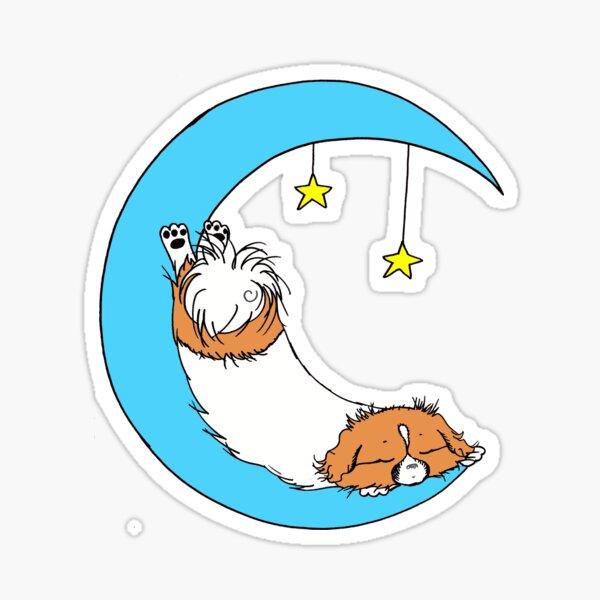 Beautiful and Cute Tibbie on the Moon Art Design Sticker
