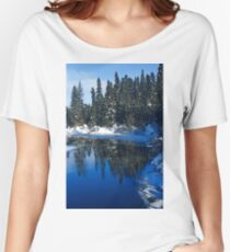 Cool Blue Shadows - Riverbank Winter Forest Women's Relaxed Fit T-Shirt