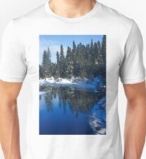 Cool Blue Shadows - Riverbank Winter Forest Unisex T-Shirt