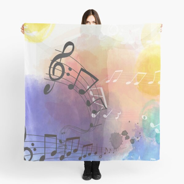 Watercolor Musical Note Symbols Scarf