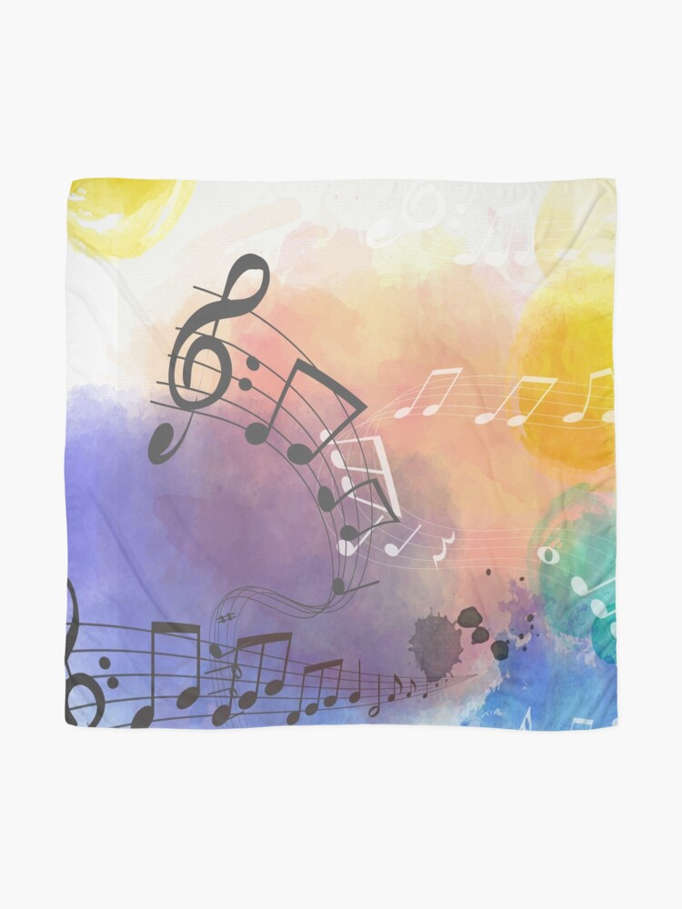 Alternate view of Watercolor Musical Note Symbols Scarf