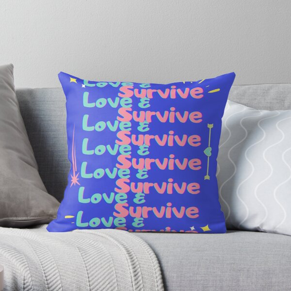 Love & Survive blue pink repeat Throw Pillow