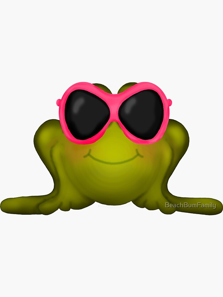 Frog With Pink Sunglasses by BeachBumFamily