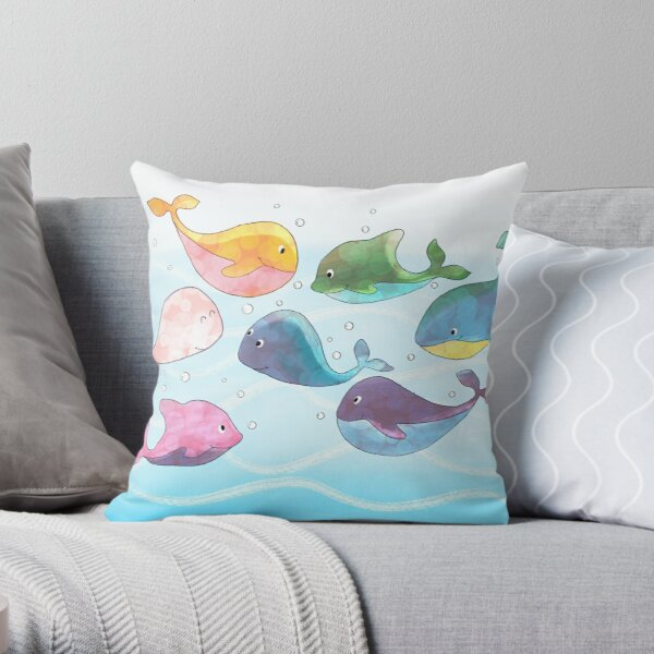 Whales in the sea Throw Pillow
