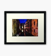 Impressions of Venice - Wandering Around the Small Canals at Night Framed Print