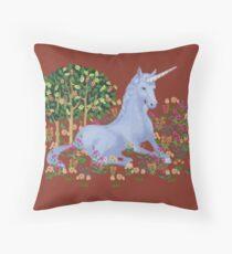 Medieval Unicorn Throw Pillow