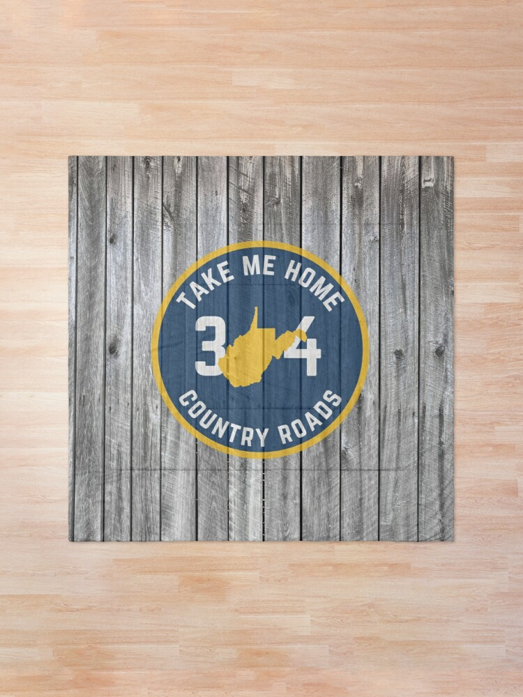 Alternate view of West Virginia State Map WV Take Me Home Country Roads 304 Barn Wood Comforter