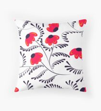 Beauty contrast simple seamless floral pattern swirl elements white Throw Pillow