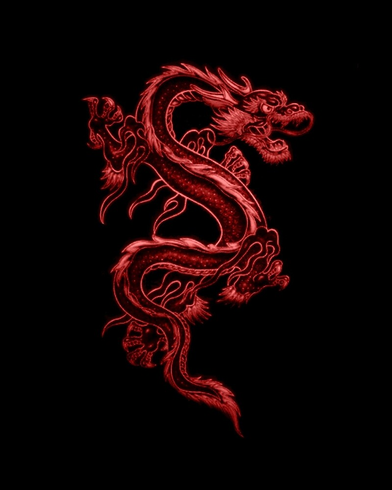 Asian Red Dragon Pattern by HavenDesign
