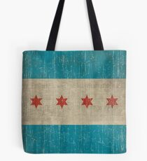 Chicago flag distressed Tote Bag