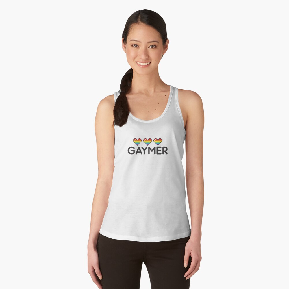 Gaymer Funny Rainbow LGBT Pride Video Game Lives Women's Tank Top Front